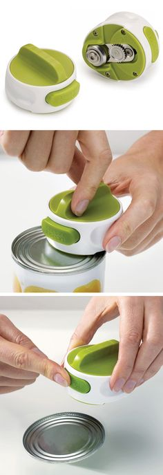 Compact Can Opener // attaches and locks onto lid, so you can open the can using the easy-twist mechanism. Simply press the button to release the lid!