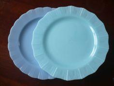 Delphite Pyrex Pie Crust and Turquoise Crown Rim Plates Candian Pyrex Rare HTF #Pyrex
