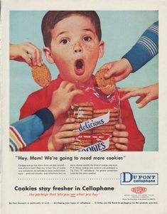 Cookies stay fresher in Cellophane . Vintage Mom, Retro Vintage, Funny Vintage Ads, Retro Ads, Vintage Advertisements, Architecture Tattoo, Old Ads, Wallpaper Iphone Cute, Retro Aesthetic