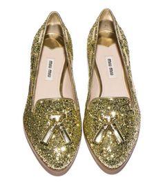Gold loafers. Miu Miu Fall 2012