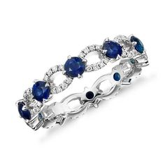 Appraise Diamond Jewelry Sapphire and Diamond Ellipse Eternity Ring in White Gold - Rich blue sapphires are set between an eye-catching pavé-set diamond ellipse pattern in this beautiful white gold eternity-style ring. White Gold Eternity Rings, Eternity Ring Diamond, Diamond Wedding Rings, Wedding Ring Bands, Gold Ring, Diamond Rings, Sapphire Jewelry, Diamond Jewelry, Jewelry Rings
