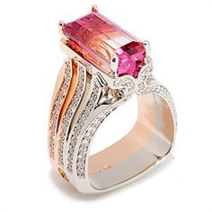 Bi-Color Tourmaline Accented by Pink and White Diamonds Set In Platinum and 18K Rose & White Gold