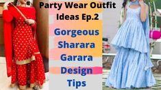 Party wear Outfit Ep2 | Sharara Garara Suit Design Ideas For Festive & W... Garara Suit, Party Wear Indian Dresses, Sharara, Wedding Season, Color Combinations, Festive, Design Ideas, Seasons, Summer Dresses