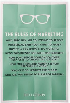 The Rules of Marketing from Seth Godin.  http://www.marketinggenome.com/experiential-event-management/branding/