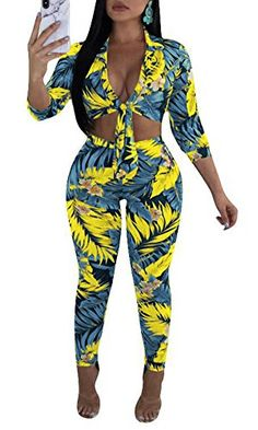 44f88e6adb Playworld Women s Long Sleeve 2 Pieces Outfit Geometric Print Top and Long  Pants Bodycon Jumpsuits Set
