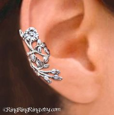 Wild Rose ear cuff ear cuff Sterling Silver by RingRingRing