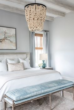 Coastal master bedroom with soft blues and natural tones A Contemporary Southern Home in Charleston, SC   Rue
