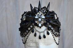 Mermaid crown  black  shell crown  siren  by ScarletHarlow on Etsy