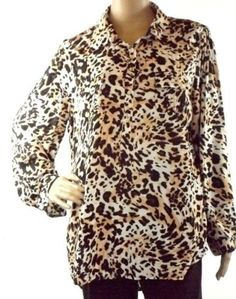 Cato Multi-Color Animal Print Blouse Long Roll Tab Sleeve 1/2 Button Front Rayon
