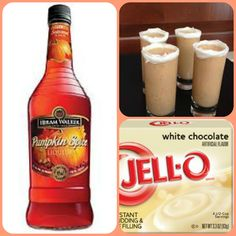 White Chocolate Pumpkin Pudding Shots  1 small Pkg. white chocolate instant pudding ¾ Cup Milk 3/4 Cup Hiram Walker Pumpkin Spice Liqueur  8oz tub Cool Whip  Directions 1. Whisk together the milk, liquor, and instant pudding mix in a bowl until combined. 2. Add cool whip a little at a time with whisk. 3.Spoon the pudding mixture into shot glasses, disposable shot cups or 1 or 2 ounce cups with lids. Place in freezer for at least 2 hours