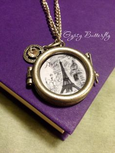 Eiffel tower necklace silver frame pendant by GypsyButterfly2, $14.50