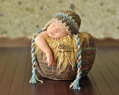 Newborn Baby Boy Barley Brown, Blue and Tan Rustic Earflap Crochet Hat, Great for Photo Prop