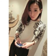 $8.24 Fashionable Style Long Sleeves Round Neck Cotton Blend Floral Print Blouse For Women