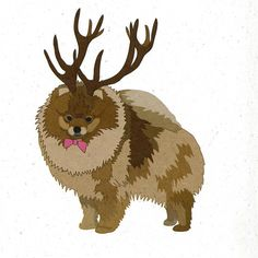 Illustrated Deer Pomeranian Blank Card by Illustratedcards on Etsy
