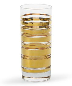 Another great find on #zulily! Gold Stripe Glass - Set of Four by C. Wonder #zulilyfinds