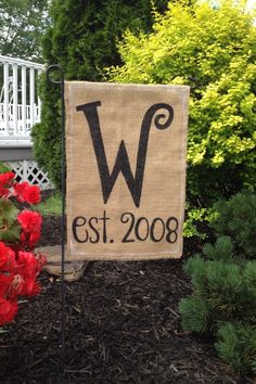 A personal favorite from my Etsy shop https://www.etsy.com/listing/152066130/burlap-garden-flag-with-monogrammed