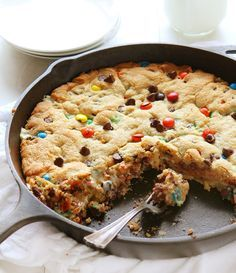 M&M Caramel Marshmallow Skillet Cookie - This decadent Skillet Cookie takes Ooey Gooey to a new level!