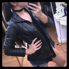 Jessica Simpson Black vegan leather jacket Jessica Simpson black leather jacket, I've worn it a handful of times but living in Miami doesn't let me appreciate it full effect willing to trade for a lighter leather jacket Jessica Simpson Jackets & Coats