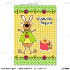 Joyeuses Pâques.  Funny Easter Bunny and Chick Design Customizable Easter Greeting Cards in French for kids. Matching cards, postage stamps and other products available in the Holidays / Easter Category of the artofmairin store at zazzle.com