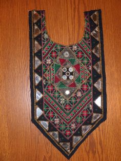 DIY Mirrored Embroidered Ethnic Yoke Textile with seed beads Black Green Deep Red & Gold