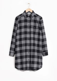& Other Stories image 1 of Checked Flannel Shirt Dress  in Grey Dark