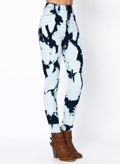 high-waisted bleached jeans $45.00