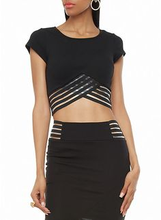 Textured Short Sleeve Crop Top with Sheer Trim