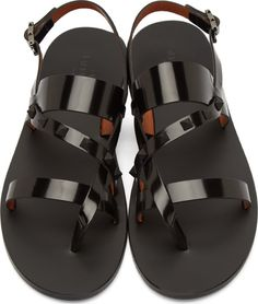 Valentino Black Leather Studded Gladiator Sandals