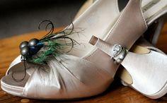 Autumn Wedding Peacock Shoe Clips by Sofisticata http://sofisticata.etsy.com Bridal Shower, Bride Bridesmaid Gift Idea!