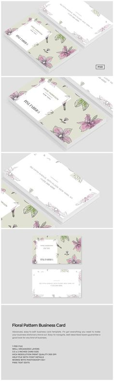 Floral Pattern Business Card by Design Co. on @creativemarket