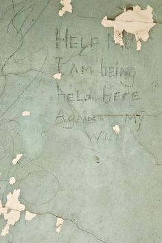 Etching by a patient in the wall of the TB Unit (later a unit which housed drug addicts) on abandoned North Brother Island - Riverside Hospital. Abandoned Asylums, Abandoned Buildings, Abandoned Places, Haunted Asylums, Haunted Houses, Mental Asylum, Insane Asylum, Kingston, Rehab Facilities