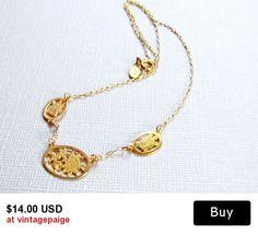Vintage Gold Floral Chain Necklace Avon