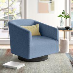 Calverton Swivel Barrel Chair & Reviews   Joss & Main Swivel Barrel Chair, Swivel Armchair, Chairs Online, Chair Upholstery, Tub Chair, Contemporary Design, Solid Wood, Living Room Decor, Furniture