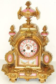 Sevres and ormolu gilt, hand painted clock;