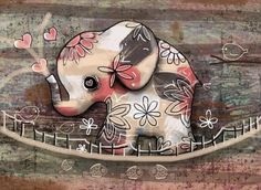 Elephant Bridge Painting by Karin Taylor Elephant Quilt, Elephant Love, Elephant Art, Elephant Nursery, Cartoon Elephant, Elephant Tattoo Design, Elephant Tattoos, Animal Drawings, Cute Drawings