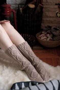 """hellanne: """" aran socks (by postscript love) """" Cabin Socks, Winter Socks, Cosy Winter, Warm Blankets, Knitting Socks, Knit Socks, Cosy Socks, Fun Socks, Fashion Socks"""