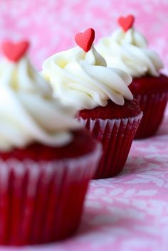 Red Velvet Cupcakes by Annie's Eats  Note: 1 C cake flour = 2 T cornstarch in 1 C measuring cup then fill with flour