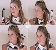 HOW TO USE A CURLING IRON Option 1: Start by holding the curling iron vertically with the clasp facing forward. Then clamp a 2 inch section of hair about 1-2 inches from the ends. Curl the hair out and away from your face, all the way up to the root. Hold for 7-12 seconds depending on your hair texture. Always curl the front pieces away from your face (unless you're going for a retro Hollywood vibe).
