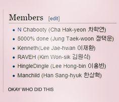 VIXX   Member names
