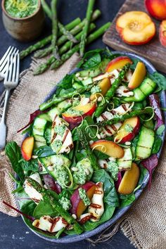 Griddled Halloumi Salad with Peach, Courgette and Lemon Pesto. A deliciously filling vegetarian dinner! busy moms, healthy mom, health tips, healthy food, health and fitness