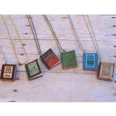 """DIY Book Necklace (Easiest Book Cover Pendants Ever) Tutorial from Two Butterflies here.These were created using miniature books (cheap), word (not photoshop), and book covers that are linked. For more """"stick and glue"""" DIYs go here."""