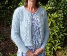 PDF version A very feminine mohair cardi with ribbed sleeves, an all over eyelet pattern and a crocheted edging. To fit bust 32 inch Diy Clothes, Clothes For Women, Knitting Designs, Knit Patterns, Free Pattern, Knit Crochet, Feminine, Sweaters, Cardigans