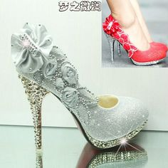 Freeshipping Fashion Sweet Rhinestone Flower Women's Pumps High Platform Heeled Women's Wedding Shoes Dress Bridal Stiletto US $33.49