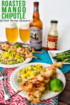Roasted Mango Chipotle Grilled Shrimp Skewers using products from @Carla Gentry Gentry Costephens Plus World Market from KatiesCucina.com  #CelebratingDad #Recipe #grilling