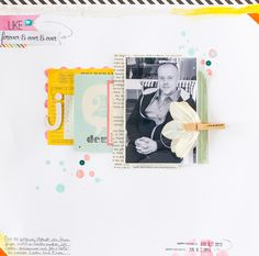 Janna Werner: color scheme pink, yellow, turquoise - scrapbooking layout