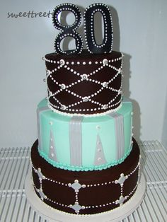 Beautiful detailed and elegant tiered birthday cake