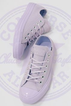 Lusting after lilac Puma Platform, Platform Sneakers, Pastel Shoes, Converse All Star Ox, Powder Pink, Baby Blue, Lilac, Trainers, Fashion