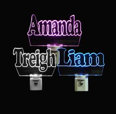 """#personalized Name #nightlights 3/8"""" Engraved Clear Acrylic #uniqueledproducts #uniqueled #personaizedgift #kids #cleveland"""