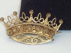 Vintage Gold Washed Filigree Ornate Crown Pin Brooch