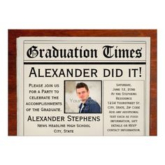 "Personalized Photo Newspaper Graduation Party 5"" X 7"" Invitation Card"